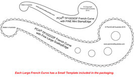 PCA TEMPLATE FRENCH CURVE LARGE WITH LARGE SCALLOP EDGE PLUS A SMALL FRENCH CURVE