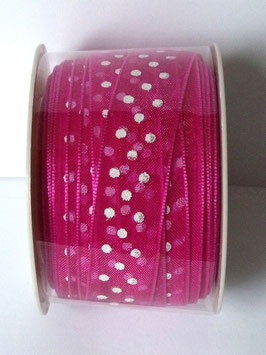 15mm ORGANZA RIBBON - BERRY WITH WHITE DOTS
