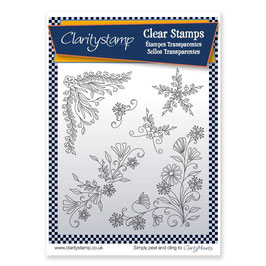 CLARITYSTAMP - TINA'S FLORAL SWIRLS AND CORNERS 1 - UNMOUNTED CLEAR STAMP SET