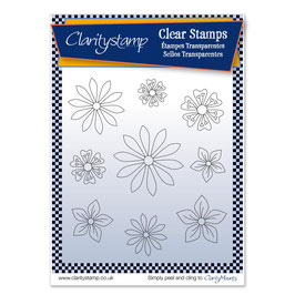 CLARITY STAMP  TINA'S FLOWERS 1 +MASK UNMOUNTED CLEAR STAMP SET