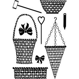 MAJESTIX - BASKET AND BOWS CLEAR STAMP SET