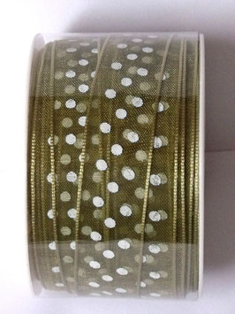 15mm ORGANZA RIBBON - OLIVE GREEN WITH WHITE DOTS