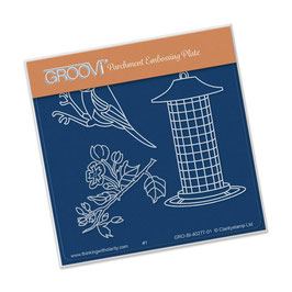 GROOVI BABY PLATES - SMALL BLUE TIT AND FEEDER