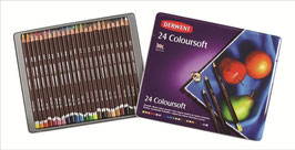 DERWENT COLOURSOFT PENCIL CRAYONS - 24 PENCILS