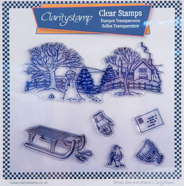 CLARITY STAMP - JAYNE NESTORENKO WINTER SCENE - SLED