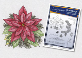 JANE NESTORENKO FLORAL COLLECTION - POINSETTIA UNMOUNTED STAMP SET A5