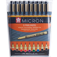 PACK OF 9 PIGMA MICRON COLOURED PENS SIZE 05