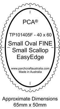 PCA TEMPLATE GUIDE FOR A SCALLOP EDGE SMALL OVAL (USE FINE SMALL SCALLOP TOOL)