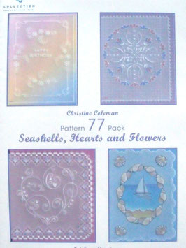 PATTERN PACK 77 - SEASHELLS, HEARTS AND FLOWERS BY CHRISTINE COLEMAN