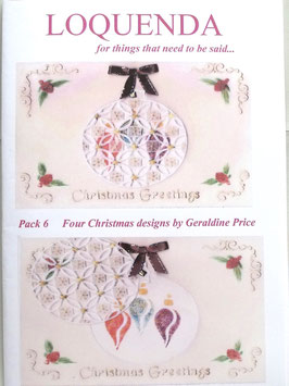 PATTERN PACK 6 CHRISTMAS DESIGNS  BY GERALDINE PRICE