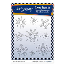 CLARITY STAMP  TINA'S FLOWERS 2 +MASK UNMOUNTED CLEAR STAMP SET