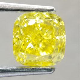 1,04 ct, Fancy Vivid Yellow, IF, Cushion, GIA Certified