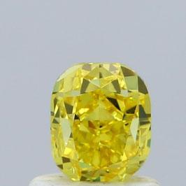 V 0,86 ct, Fancy Vivid Yellow, VVS2, Cushion, GIA Certified