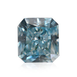 V 0,08 ct, Fancy Intense Blue Green, (SI1), Radiant, GIA Certified