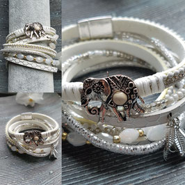 Weißes Armband in Wickeloptik