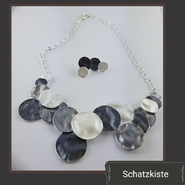 Modisches Emaille Collier - Set  in grau/silber