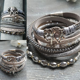 Graues Armband in Wickeloptik