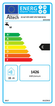 Chauffe-eau électrique ALTECH 75 L Vertical Mural diam 470