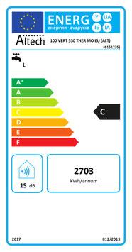 Chauffe eau électrique ALTECH 100l Vertical Mural diamètre 530