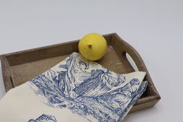 Torchon à vaisselle en coton dessin toile de Jouy bleu