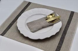 Set de table en pur lin ficelle / 2 rayures noires
