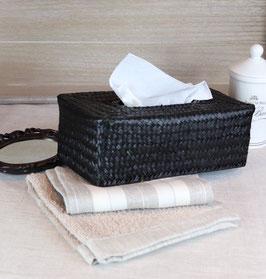 Boite de mouchoirs noire en palmier.