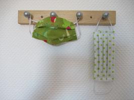 Kinder-Behelfsmaske mit Krokodil & Schlange und weiß mit grünen Punkten zum Wenden