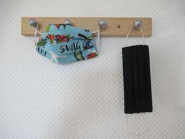 Kinder-Behelfsmaske mit Skateboards und uni schwarz zum Wenden