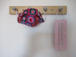 Kinder-Behelfsmaske mit Blumen & Elefanten und uni rosa zum Wenden