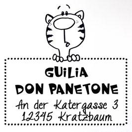 Katze Kasimir Adress-Stempel