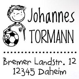 Fußballer Pelle Adress-Stempel