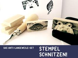 ANTI-LANGEWEILE- STEMPEL selber Schnitzen Set