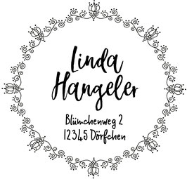 Blümchen  Tulpen Adress-Stempel (rund)