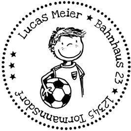 Fußballer Pelle Adress-Stempel (rund)