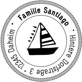 Segelboot Adress-Stempel (rund)
