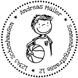 Basketballer Pelle Adress-Stempel (rund)