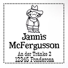 Cowboy Jim Adress-Stempel