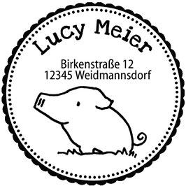 Schweinchen  Justus Adress-Stempel (rund)