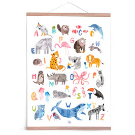 Poster ABC Poster Tiere (Pastell) - Frau Ottilie