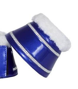 Hufglocken mit zwei doppelten Reihen Strasssteinen, blau metallic