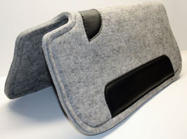 Filzpad grau mit schwarzen Lederbesatz