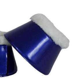 Hufglocken mit Fellrand, blau metallic