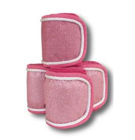 Fleecebandagen 4-er Set, pink Glitzer