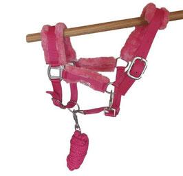 """Halfter-Set """"Flauschi"""" mit Plüsch und passendem Strick - Pink"""