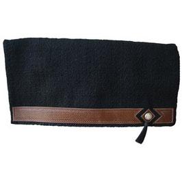 Designer Blanket mit LEDERBESATZ & CONCHOS - schwarz