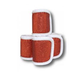 Fleecebandagen 4-er Set, rot Glitzer