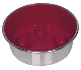 Anti-Schling Edelstahlnapf Paw, rutschfest, rot