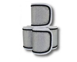 Fleecebandagen 4-er Set, weiß-grau Glitzer