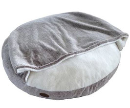 Komfort Kissen rund Cuddly mit Kuscheldecke hellbraun