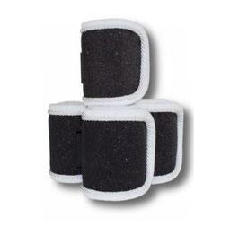 Fleecebandagen 4-er Set, schwarz-weiß Glitzer